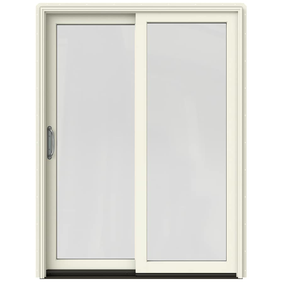 Jeld wen sliding clear glass french vanilla painted clad wood solid core patio door with screen for Jeld wen french doors interior