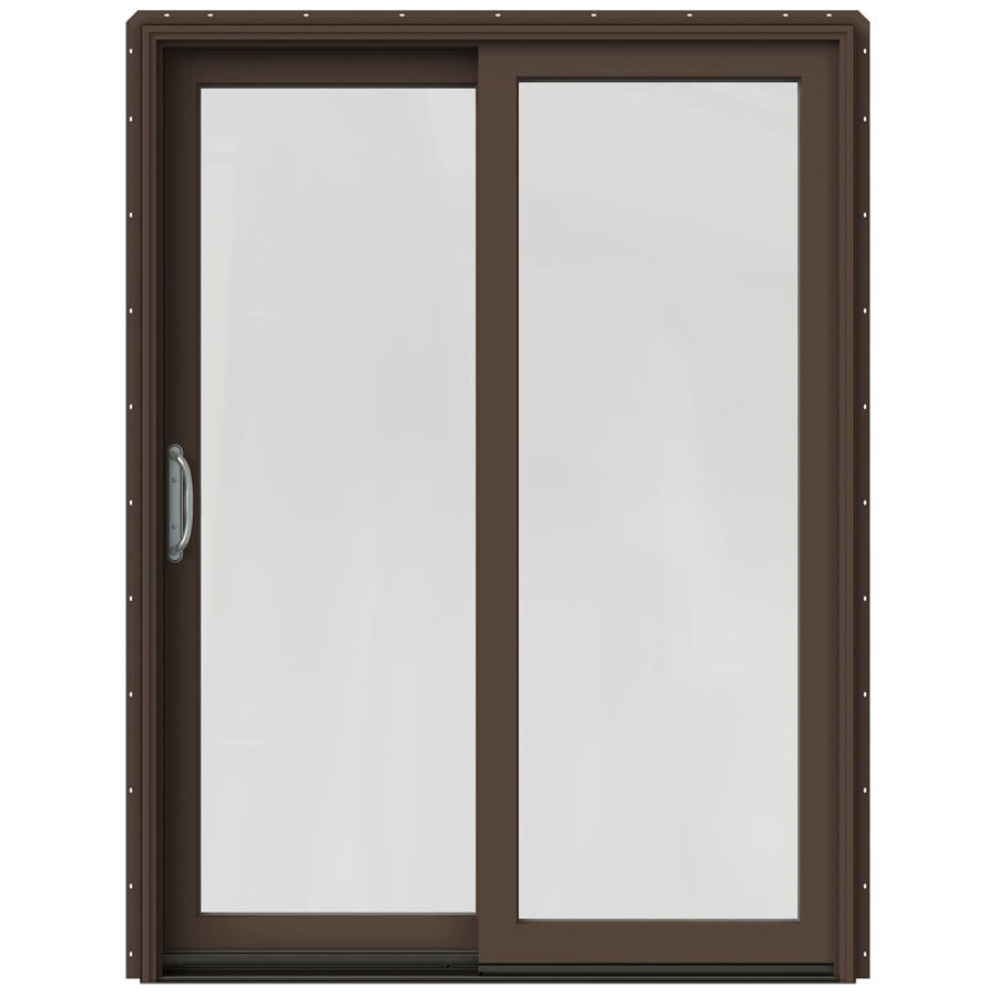 shop jeld wen w 2500 1 lite glass dark chocolate wood sliding patio door with screen at. Black Bedroom Furniture Sets. Home Design Ideas