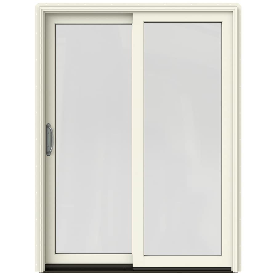 JELD-WEN W-2500 59.25-in 1-Lite Glass French Vanilla Wood Sliding Patio Door with Screen