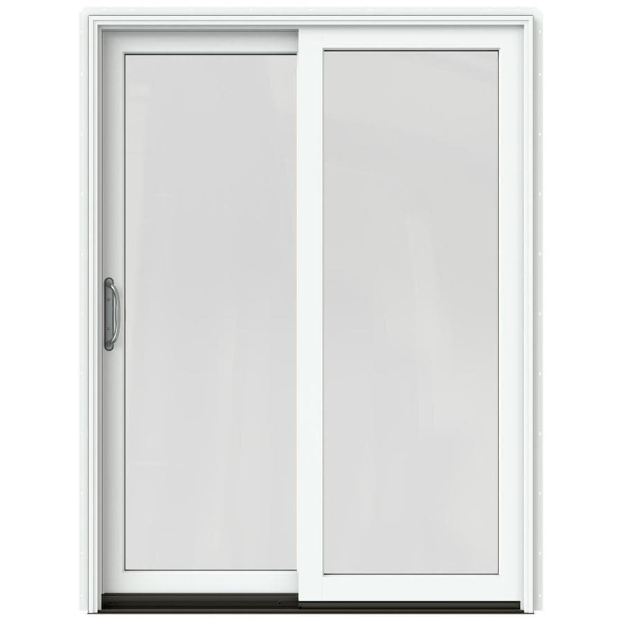 JELD-WEN W-2500 59.25-in 1-Lite Glass Brilliant White Wood Sliding Patio Door with Screen