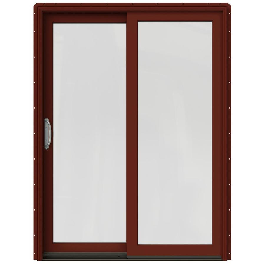 JELD-WEN W-2500 59.25-in 1-Lite Glass Mesa Red Wood Sliding Patio Door with Screen