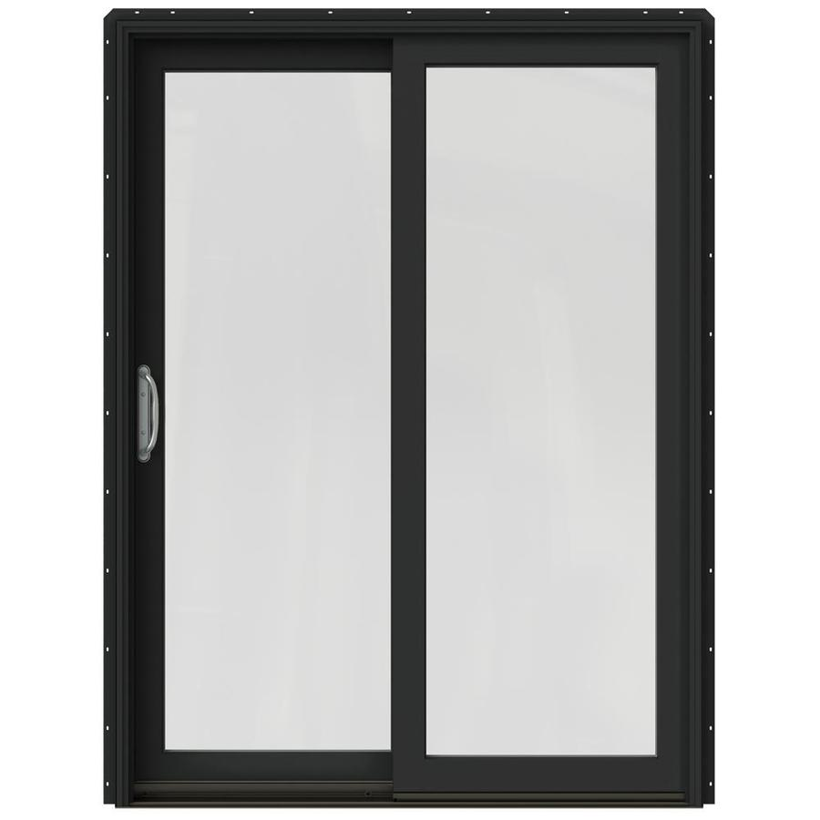 JELD-WEN W-2500 59.25-in 1-Lite Glass Chestnut Bronze Wood Sliding Patio Door with Screen