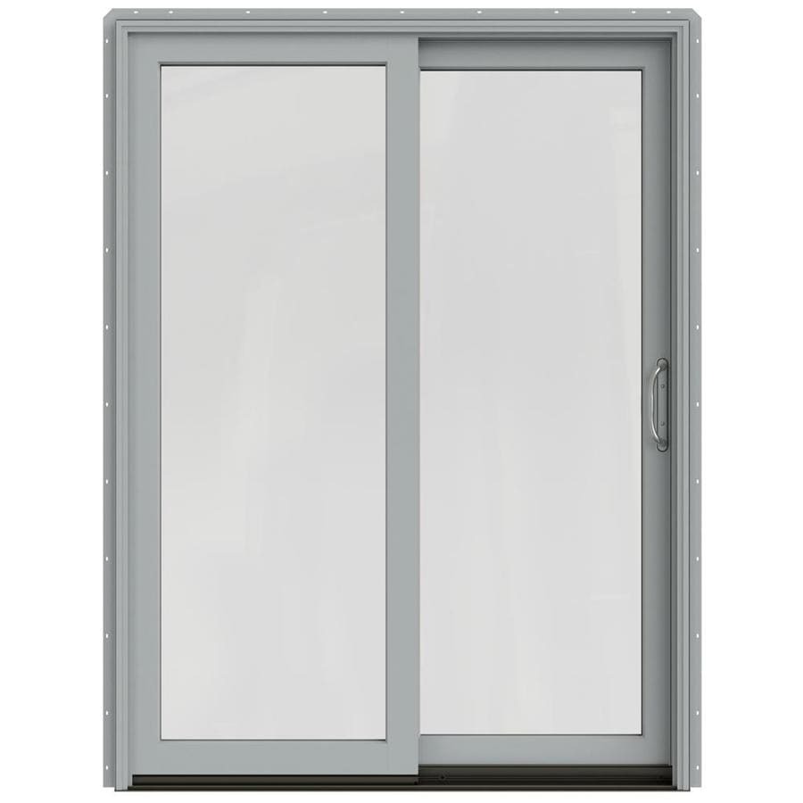 JELD-WEN W-2500 59.25-in 1-Lite Glass Artict Silver Wood Sliding Patio Door with Screen