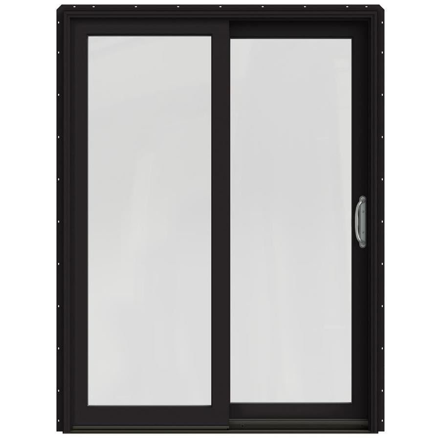Shop JELD WEN W 2500 1 Lite Glass Black Wood Sliding Patio Door With