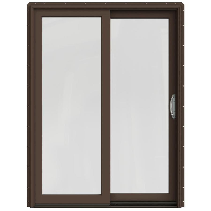 JELD-WEN W-2500 59.25-in 1-Lite Glass Dark Chocolate Wood Sliding Patio Door with Screen