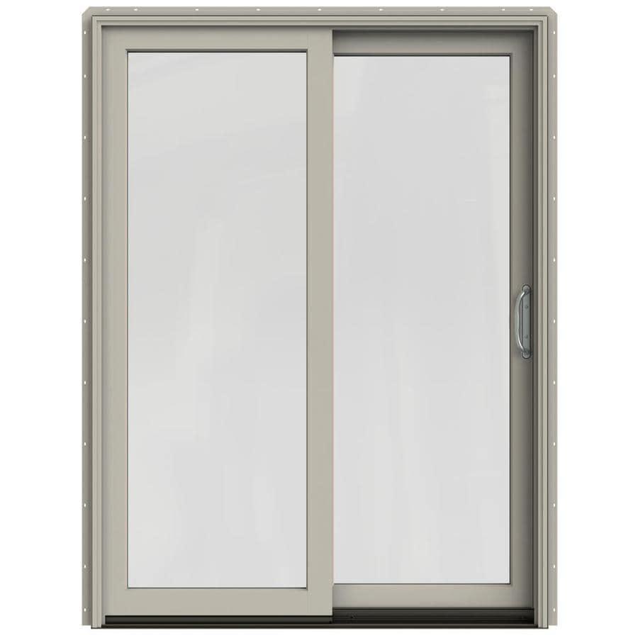 JELD-WEN W-2500 59.25-in 1-Lite Glass Desert Sand Wood Sliding Patio Door with Screen