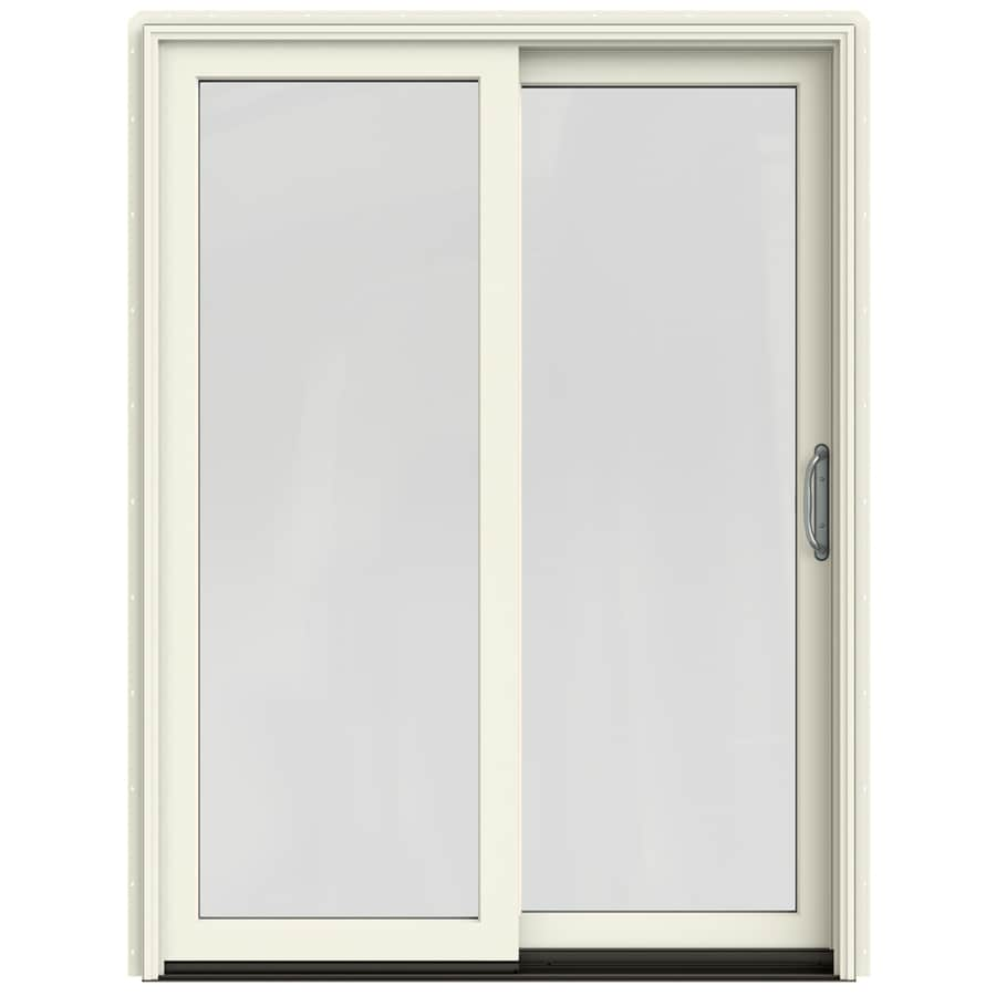 JELD-WEN W-2500 59.25-in 1-Lite Glass French Vanilla Wood Sliding Patio Door with Screen