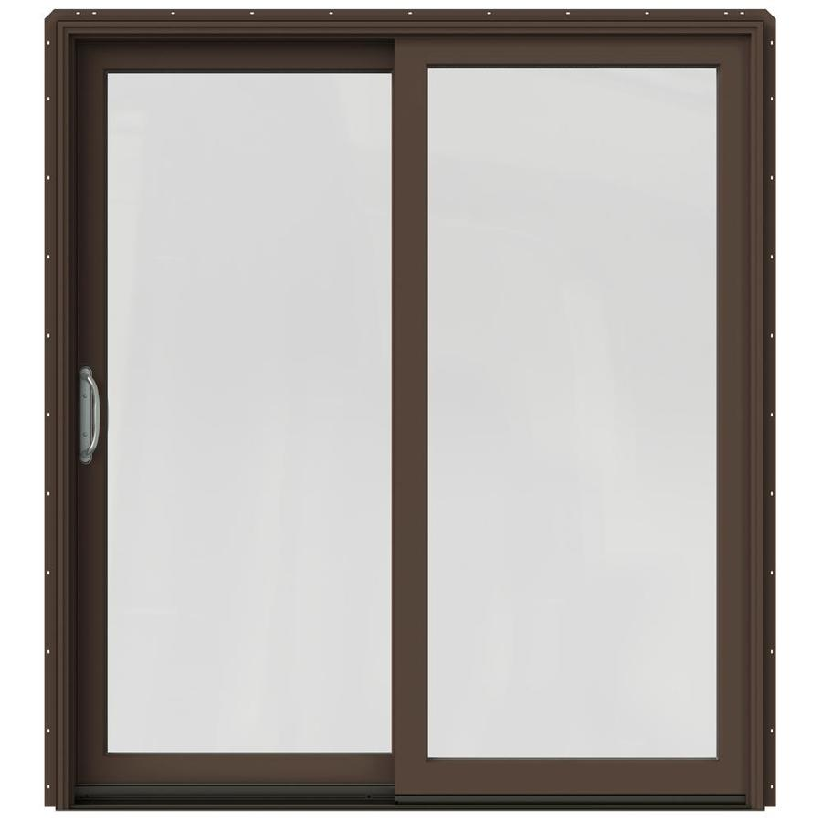 JELD-WEN W-2500 71.25-in 1-Lite Glass Dark Chocolate Wood Sliding Patio Door with Screen