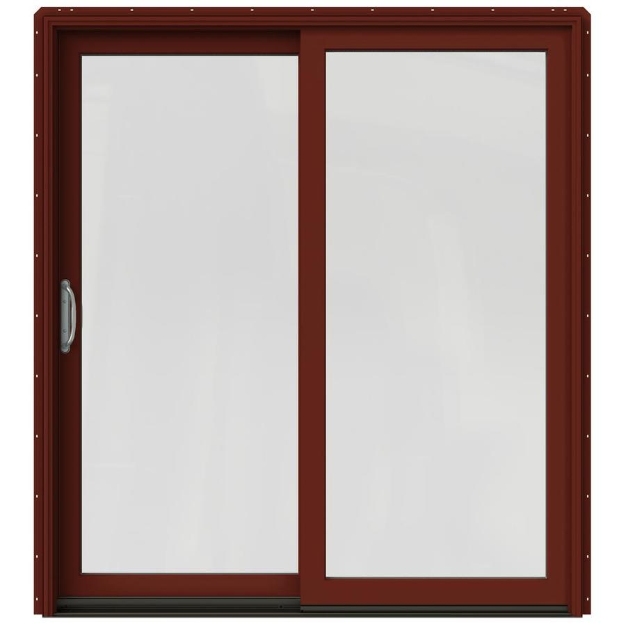 JELD-WEN W-2500 71.25-in 1-Lite Glass Mesa Red Wood Sliding Patio Door with Screen