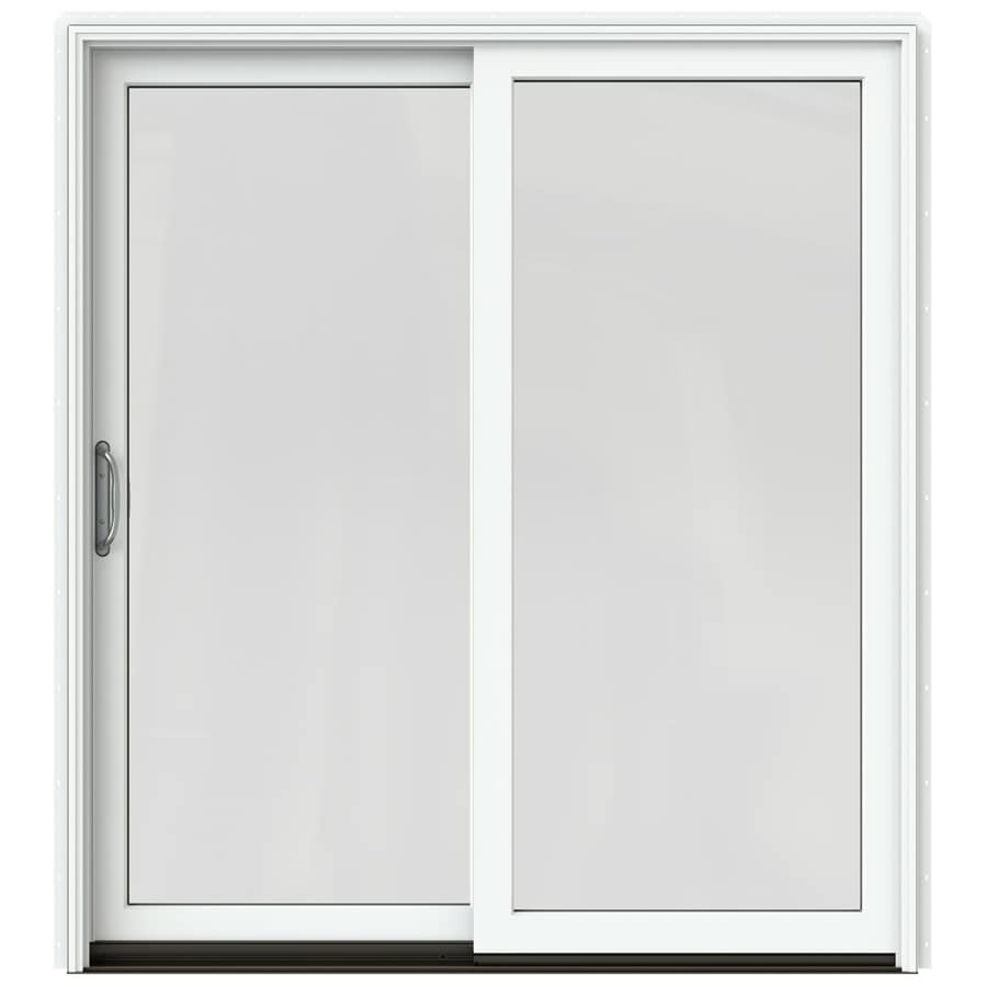 JELD-WEN W-2500 71.25-in 1-Lite Glass Brilliant White Wood Sliding Patio Door with Screen