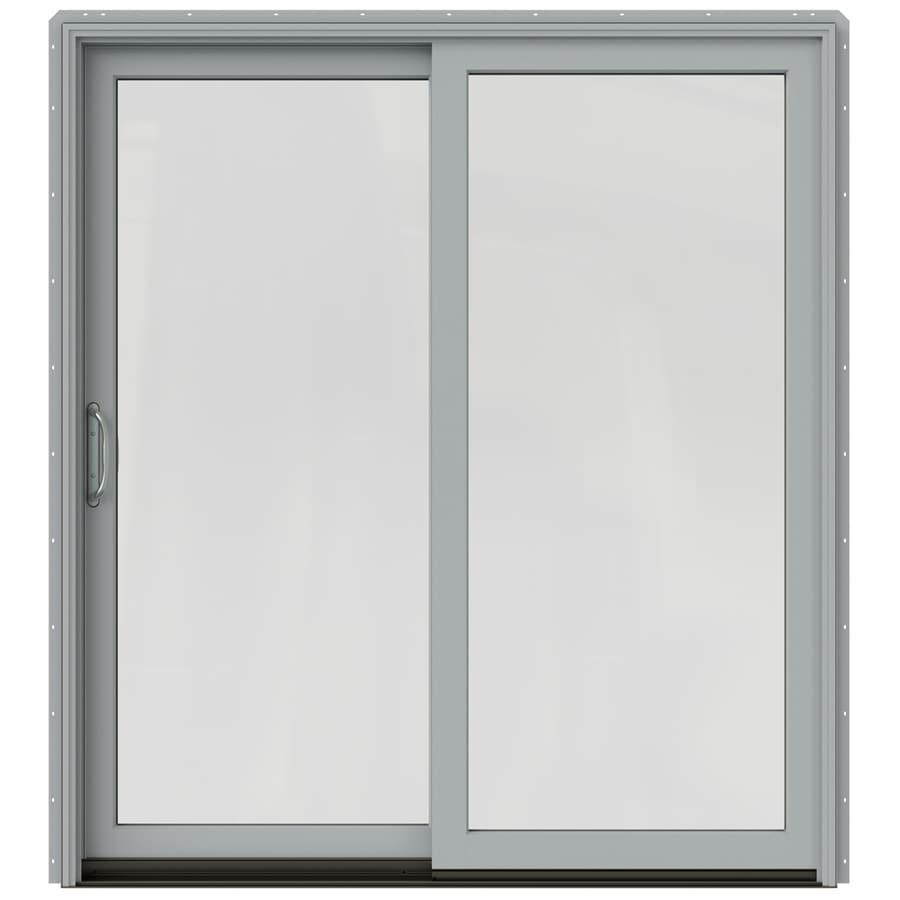 JELD-WEN W-2500 71.25-in 1-Lite Glass Artict Silver Wood Sliding Patio Door with Screen