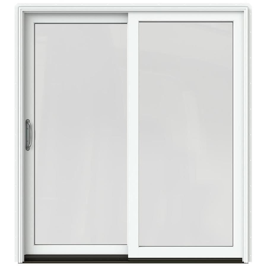 JELD-WEN W-2500 71.25-in x 79.5-in Left-Hand White Sliding Patio Door with Screen