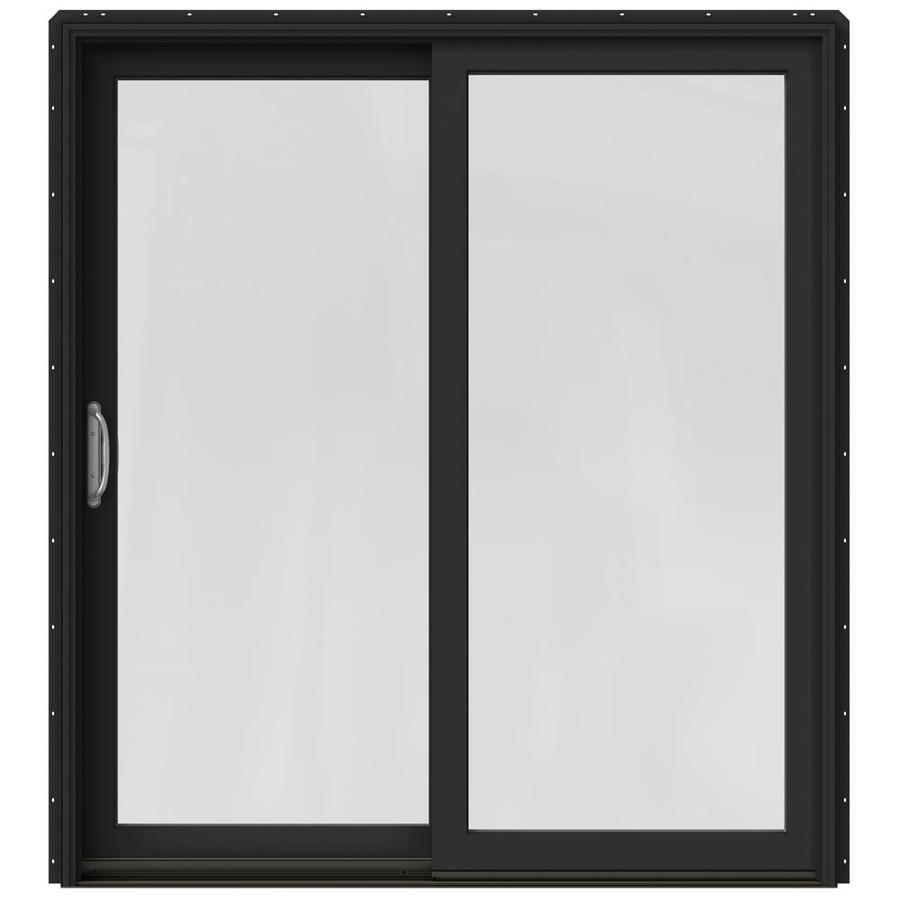 JELD-WEN W-2500 71.25-in 1-Lite Glass Chestnut Bronze Wood Sliding Patio Door with Screen