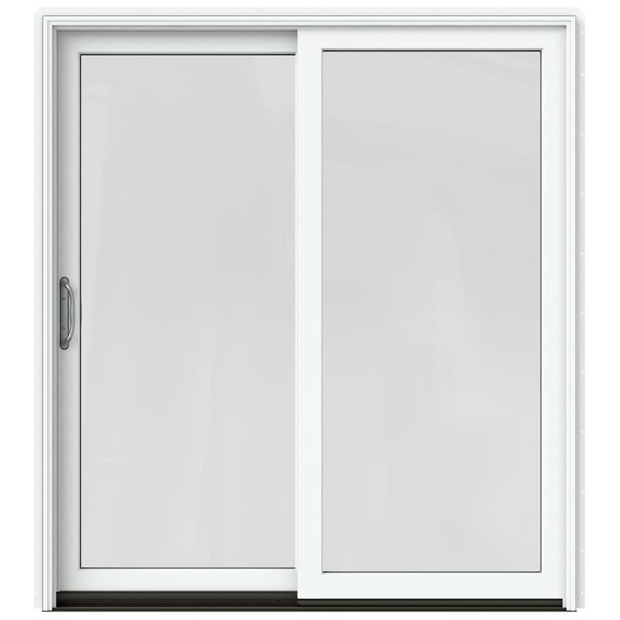 JELD-WEN W-2500 71.25-in x 79.5-in Left-Hand White Sliding Patio Door with Screen