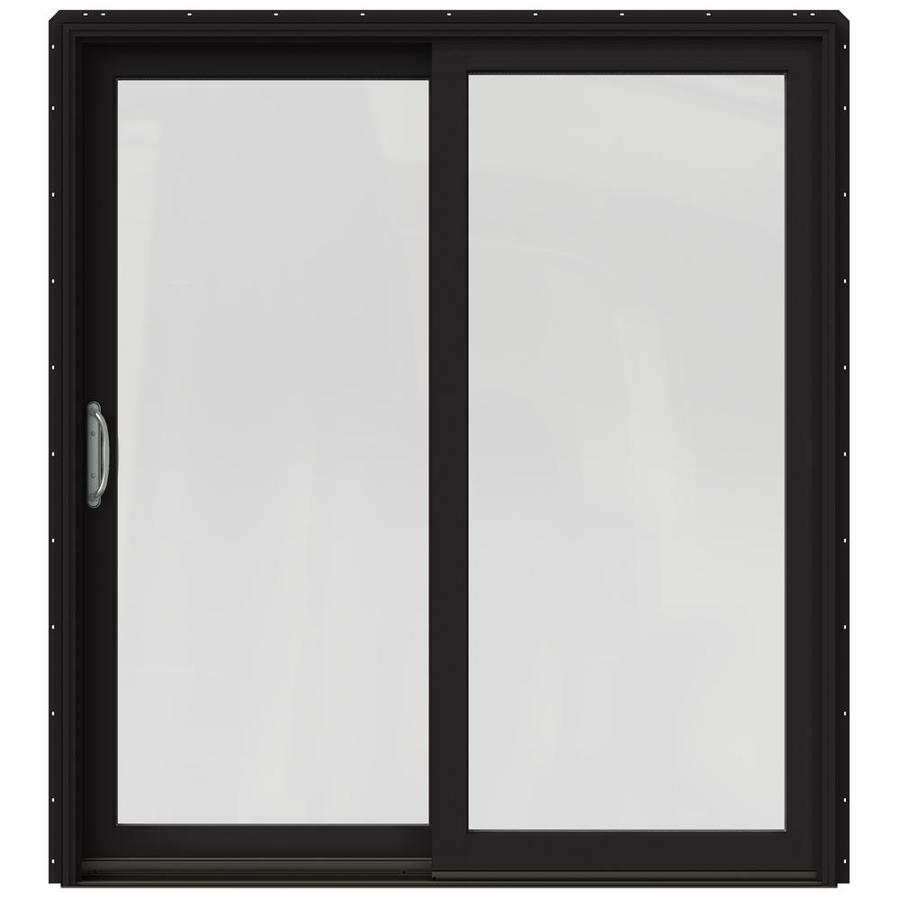 JELD-WEN W-2500 71.25-in 1-Lite Glass Black Wood Sliding Patio Door with Screen