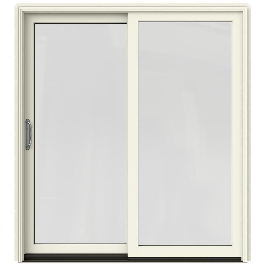 JELD-WEN W-2500 71.25-in 1-Lite Glass French Vanilla Wood Sliding Patio Door with Screen