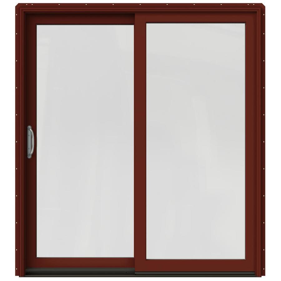 JELD-WEN W-2500 71.25-in 1-Lite Glass Mesa Red Wood Sliding Patio Door with Screen