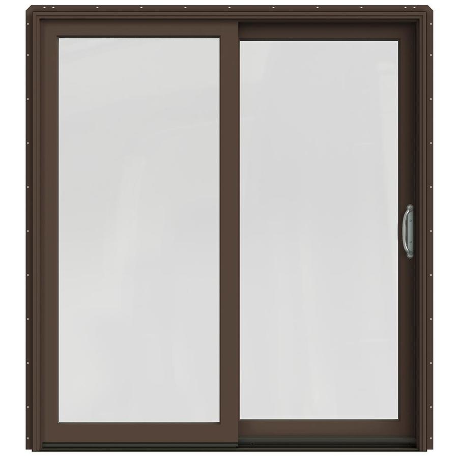 Sliding Glass Door Screens: JELD-WEN Sliding Clear Glass Dark Chocolate Painted Clad