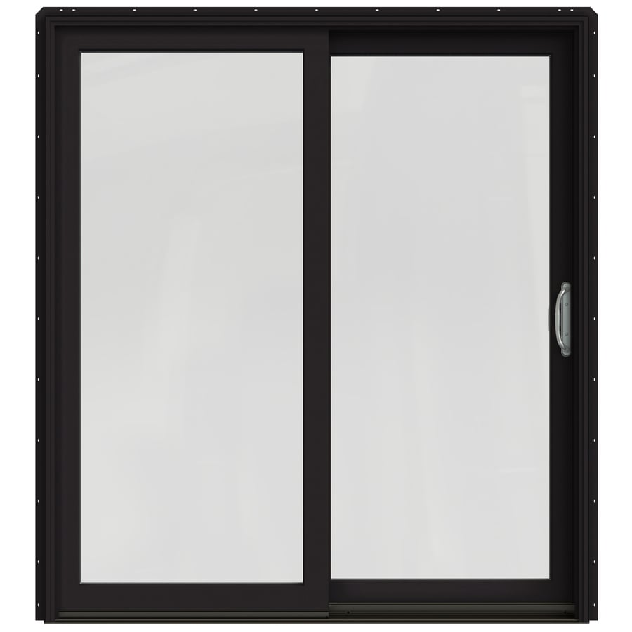 Shop jeld wen w 2500 1 lite glass black wood for Black sliding glass doors