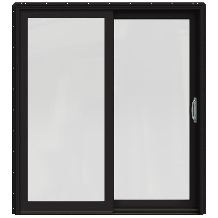 JELD-WEN W-2500 71.25-in 1-Lite Glass Black Wood Sliding Patio Door with Screen