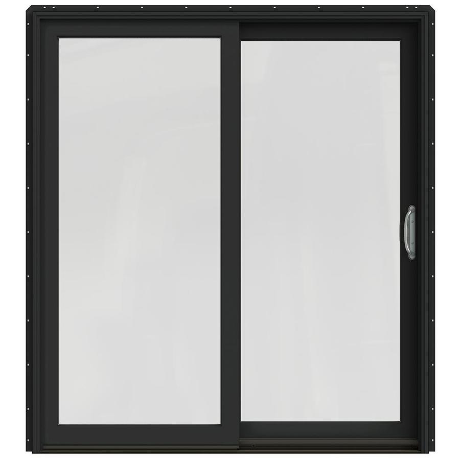 JELD-WEN W-2500 71.25-in 1-Lite Glass Chestnut Bronze Wood Sliding Patio Door with Screen