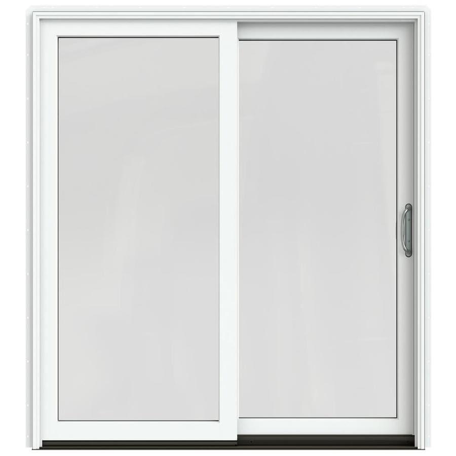 JELD-WEN W-2500 71.25-in 1-Lite Glass Brilliant White Wood Sliding Patio Door with Screen