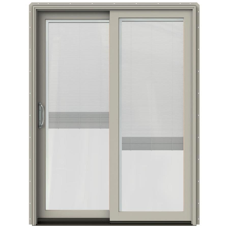 JELD-WEN W-2500 59.25-in x 79.5-in Blinds Between the Glass Left-Hand Sliding Patio Door with Screen