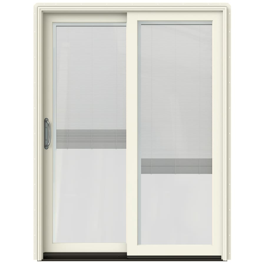 JELD-WEN W-2500 59.25-in x 79.5-in Blinds Between the Glass Left-Hand Sliding Patio Door with Screen