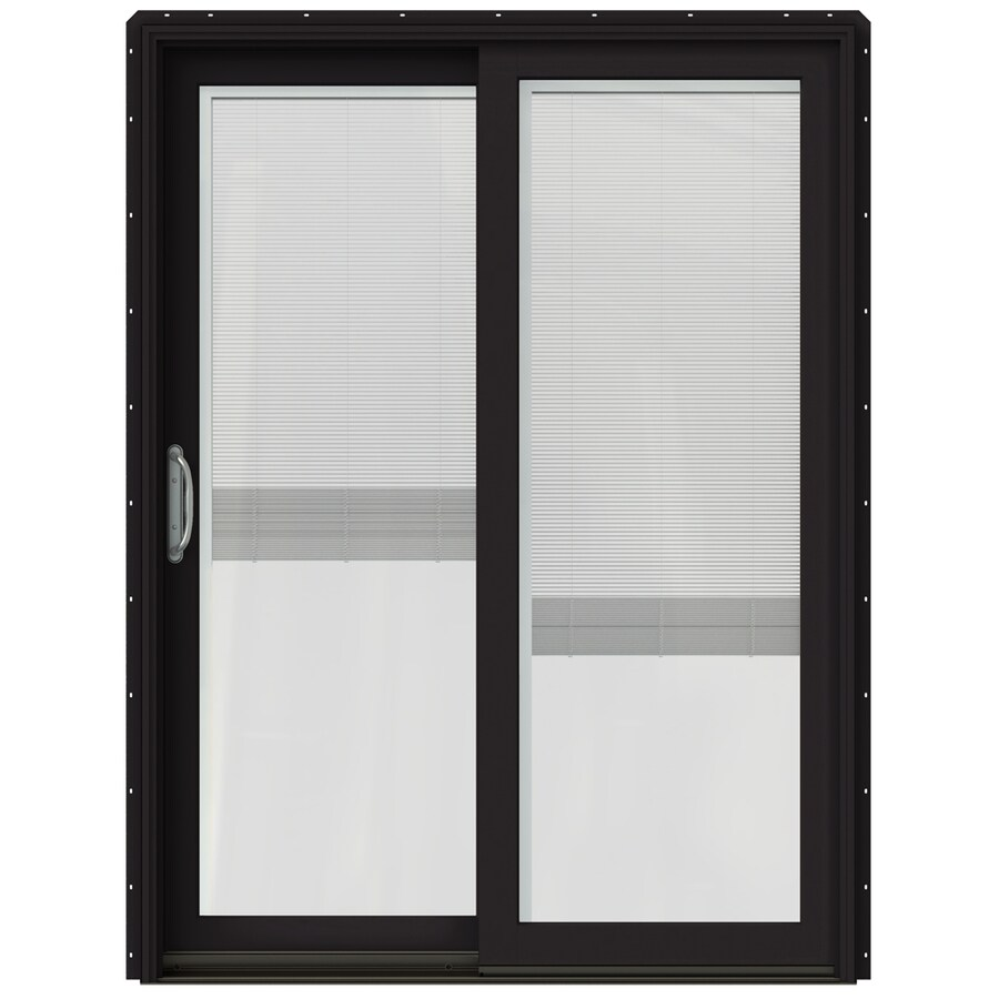 JELD-WEN W-2500 59.25-in x 79.5-in Blinds Between the Glass Left-Hand Black Sliding Patio Door with Screen