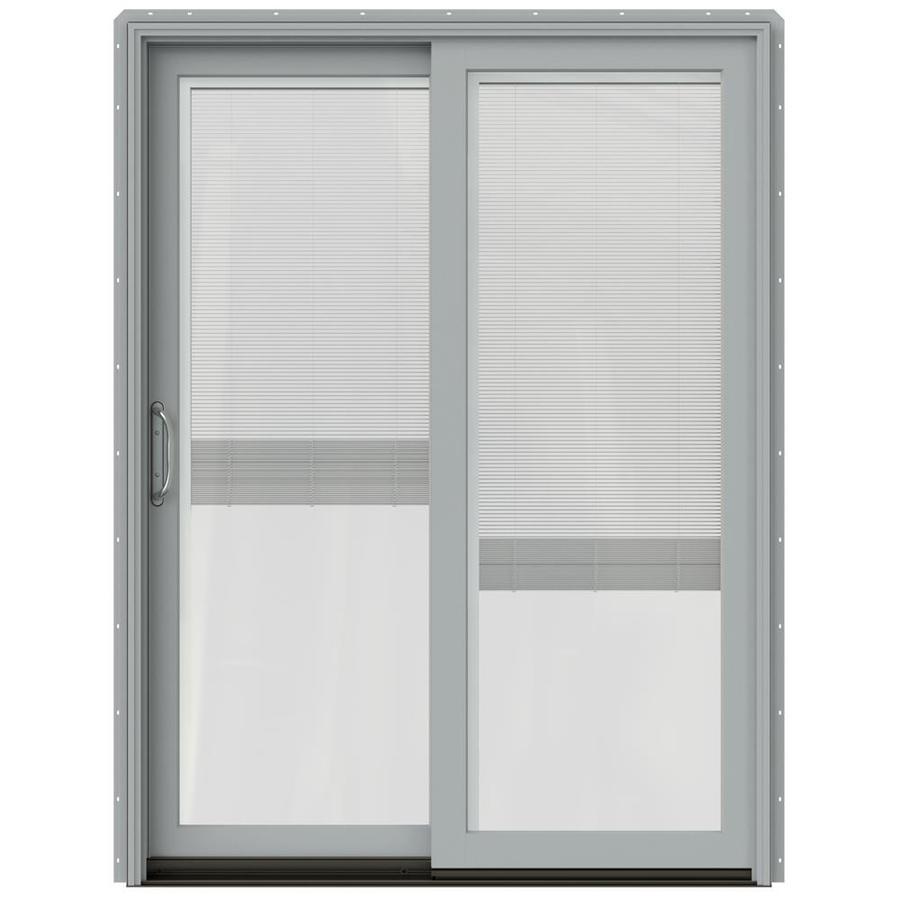 JELD-WEN W-2500 59.25-in x 79.5-in Blinds Between the Glass Left-Hand Silver Sliding Patio Door with Screen