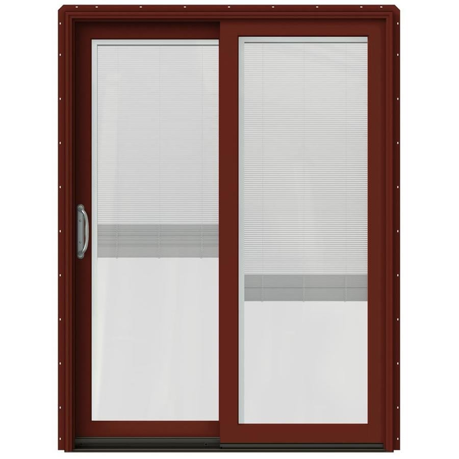 JELD-WEN W-2500 59.25-in x 79.5-in Blinds Between the Glass Left-Hand Red Sliding Patio Door with Screen