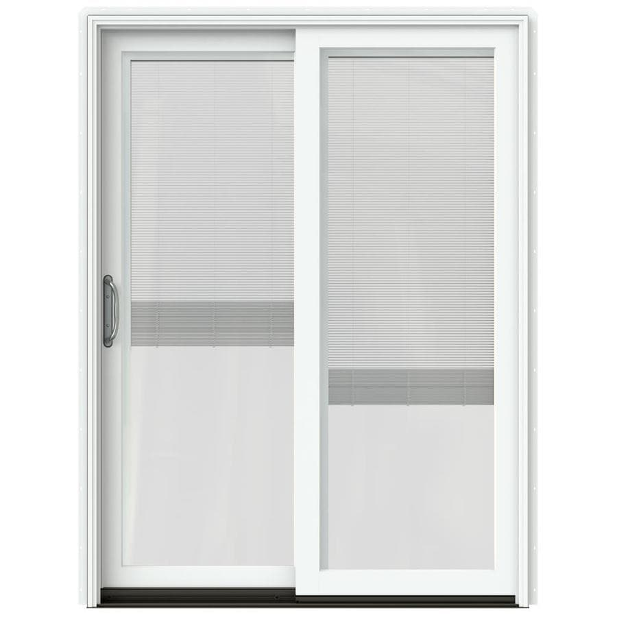 JELD-WEN W-2500 59.25-in x 79.5-in Blinds Between the Glass Left-Hand White Sliding Patio Door with Screen