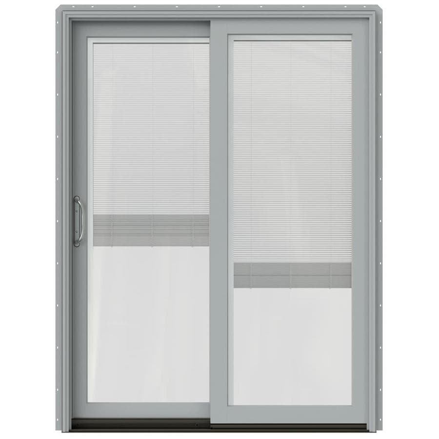 JELD-WEN W-2500 59.25-in x 79.5-in Blinds Between the Glass Left-Hand Silver Sliding Patio Door with Screen