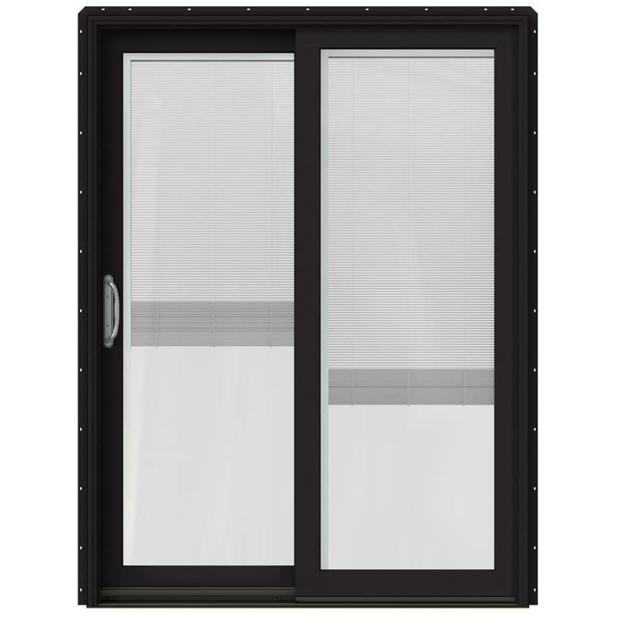 JELD-WEN W-2500 59.25-in Blinds Between the Glass Black Wood Sliding Patio Door with Screen