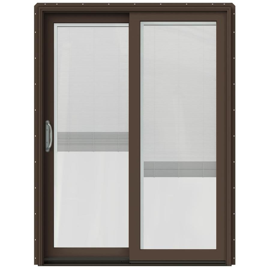 JELD-WEN W-2500 59.25-in Blinds Between the Glass Dark Chocolate Wood Sliding Patio Door with Screen