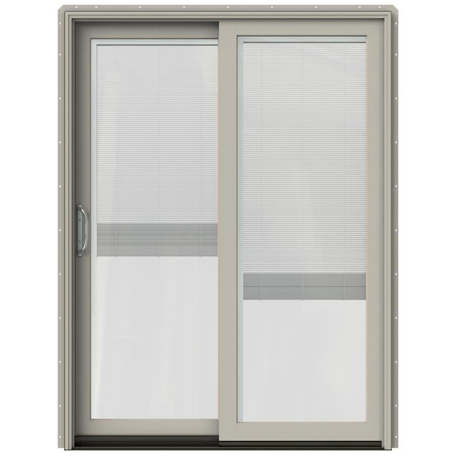 JELD-WEN W-2500 59.25-in Blinds Between the Glass Desert Sand Wood Sliding Patio Door with Screen