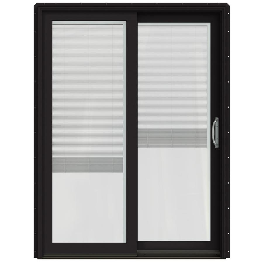 JELD-WEN W-2500 59.25-in x 79.5-in Blinds Between the Glass Right-Hand Black Sliding Patio Door with Screen