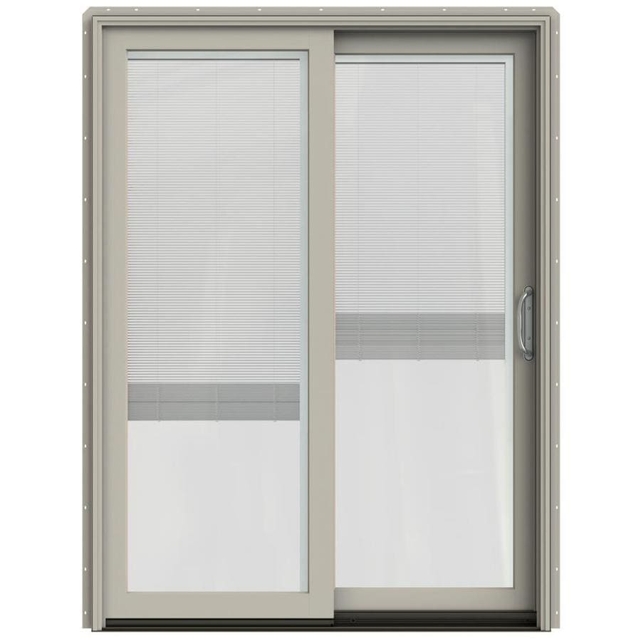 JELD-WEN W-2500 59.25-in Blinds Between the Glass Desert Sand Wood Sliding Patio Door with Screen