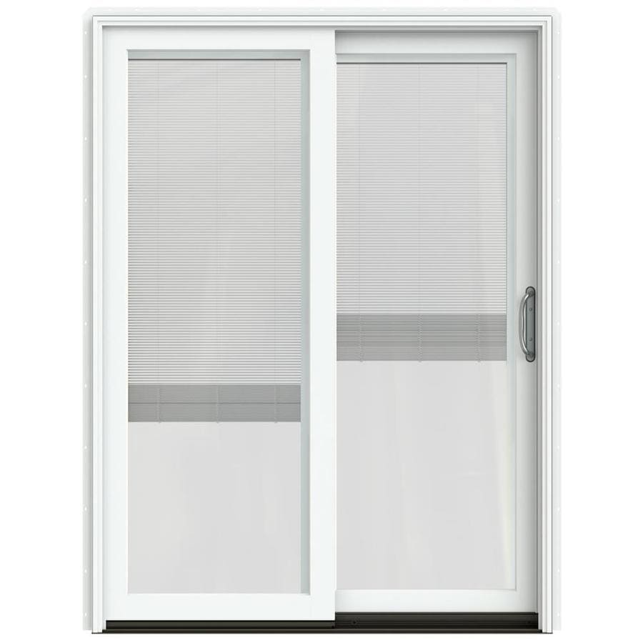 JELD-WEN W-2500 59.25-in Blinds Between the Glass Brilliant White Wood Sliding Patio Door with Screen