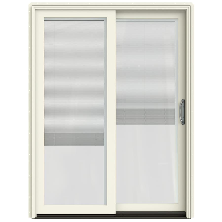 glass french vanilla wood sliding patio door with screen at
