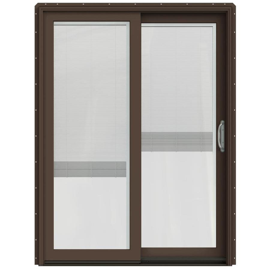 JELD-WEN W-2500 59.25-in x 79.5-in Blinds Between the Glass Right-Hand Sliding Patio Door with Screen