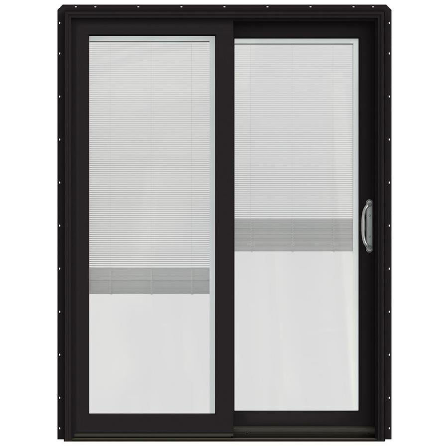 JELD-WEN W-2500 59.25-in x 79.5-in Blinds Between the Glass Right-Hand Black Sliding Patio Door with Screen