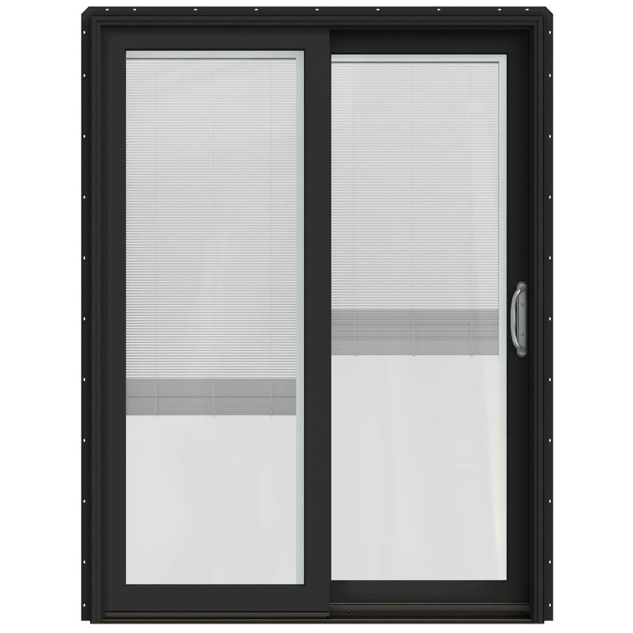 JELD-WEN W-2500 59.25-in x 79.5-in Blinds Between the Glass Right-Hand Sliding Patio Door with Screen
