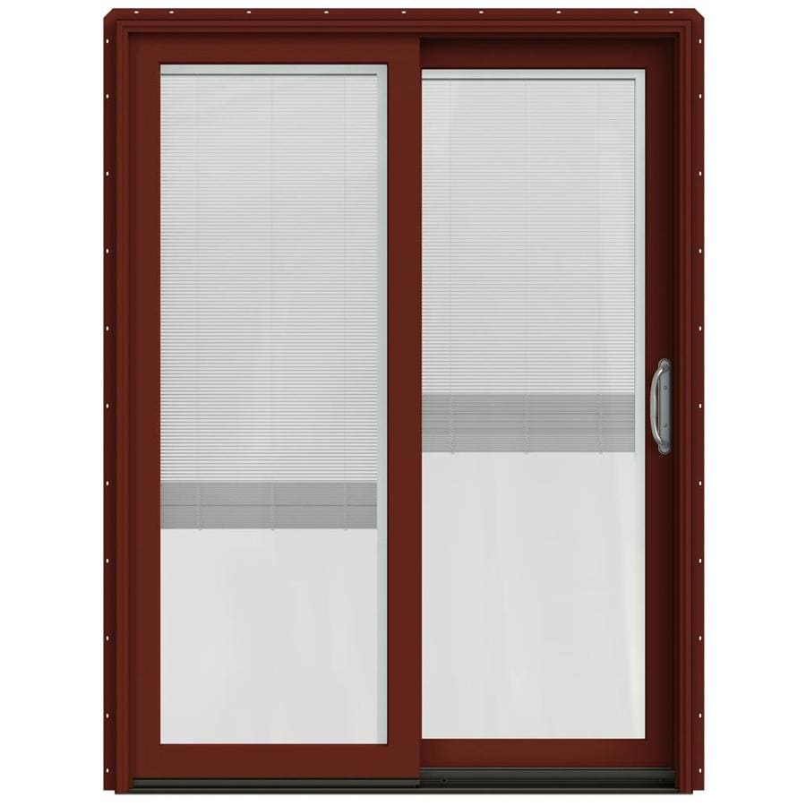 JELD-WEN W-2500 59.25-in x 79.5-in Blinds Between the Glass Right-Hand Red Sliding Patio Door with Screen