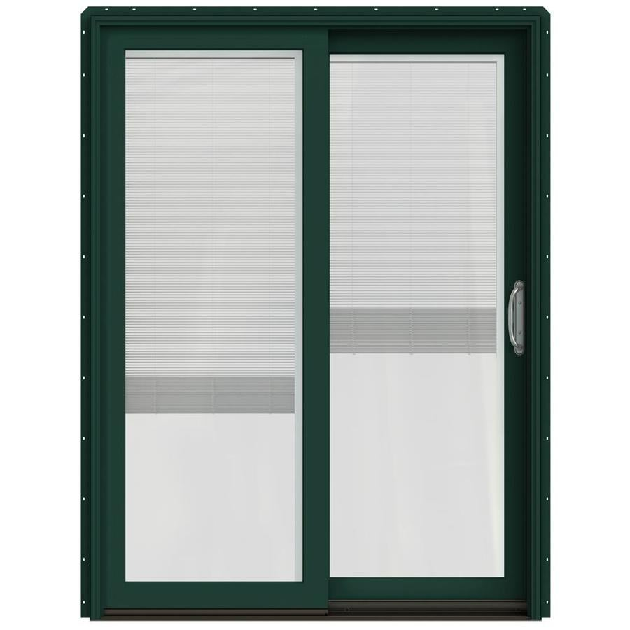 JELD-WEN W-2500 59.25-in x 79.5-in Blinds Between the Glass Right-Hand Green Sliding Patio Door with Screen