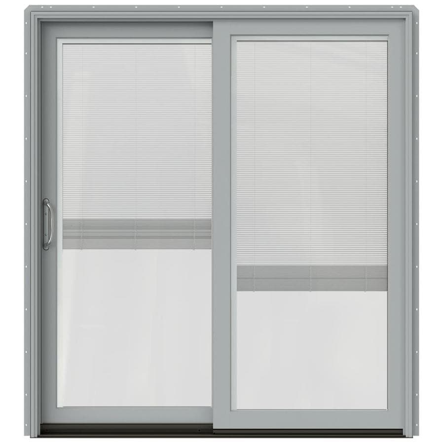 JELD-WEN W-2500 71.25-in x 79.5-in Blinds Between the Glass Left-Hand Silver Sliding Patio Door with Screen