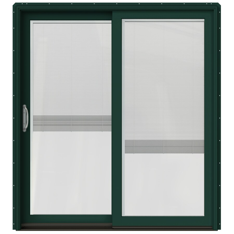 JELD-WEN W-2500 71.25-in Blinds Between the Glass Hartford Green Wood Sliding Patio Door with Screen