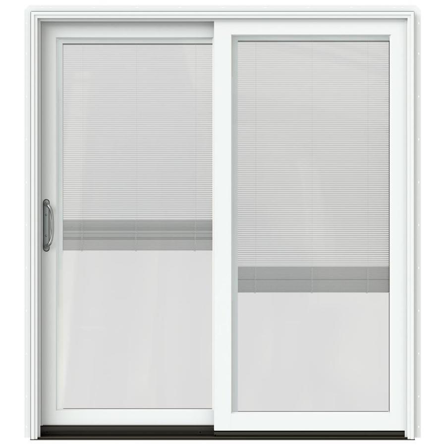 JELD-WEN W-2500 71.25-in x 79.5-in Blinds Between the Glass Left-Hand White Sliding Patio Door with Screen