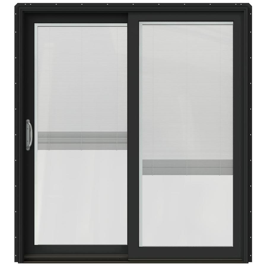 JELD-WEN W-2500 71.25-in Blinds Between the Glass Chestnut Bronze Wood Sliding Patio Door with Screen
