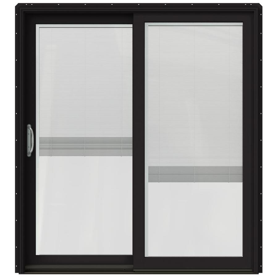 JELD-WEN W-2500 71.25-in Blinds Between the Glass Black Wood Sliding Patio Door with Screen